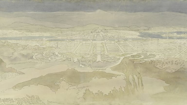 Marion Mahony Griffin's drawings (detail) of Canberra, looking across the plain.