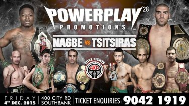 Poster promoting a kickboxing event at Planetshakers' mega-church in Southbank.