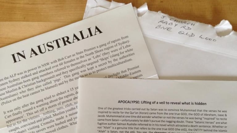 """The hate letters, from """"J Church,"""" have been mailed to unlisted home addresses Australia-wide."""