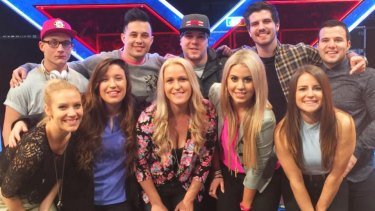 Bianca and Johanna (front row, second from left and centre) with other <i>X Factor</i> finalists in 2015.