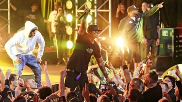 One for the true believers: Wu-Tang Clan at one of their sold-out Sydney Opera House shows.