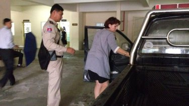 Melbourne nurse and fertility specialist Tammy Davis-Charles arrives at a Phnom Penh court on Tuesday.