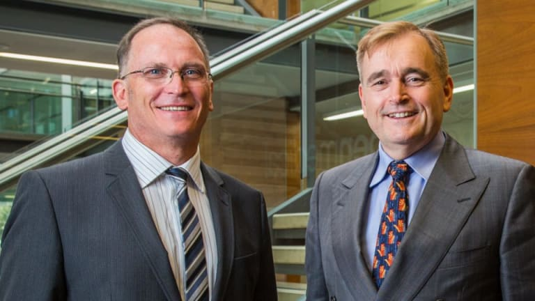 Aspen Medical's Glenn Keys (left), with Dr Andrew Walker in Canberra, believes firms must look for new, more efficient ways of delivering health services.