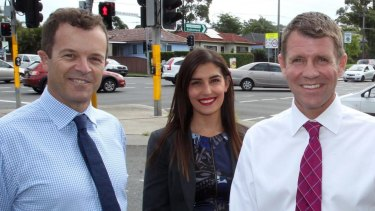 Premier Mike Baird, right, the Liberals' Eleni Petinos and Environment Minister Mark Speakman.
