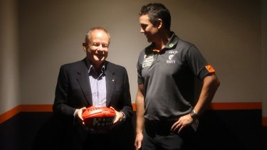 GWS Giants chairman Tony Shepherd with coach Leon Cameron.