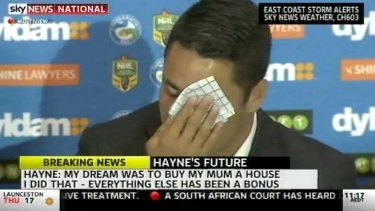 Emotional: Jarryd Hayne wipes away tears while speaking about buying his mother a house earlier in his career.