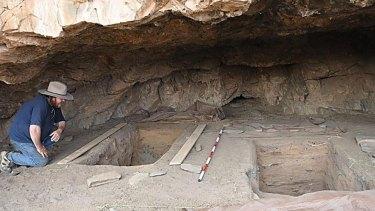 Giles Hamm inside the Warratyi rock shelter.