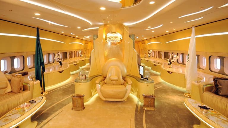 Yes, it's a throne. On a Boeing 747. Belonging to Saudi royal Prince Alwaleed bin Talal Al Saud.