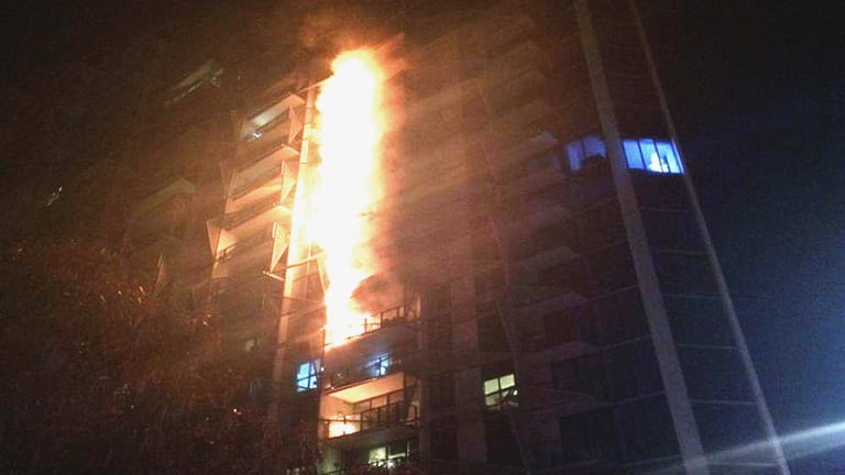Fire spread up the facade of the Lacrosse tower in a matter of minutes.