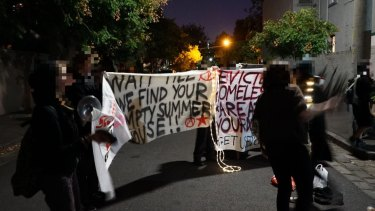 The protest outside Robert Doyle's home on Saturday night.