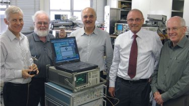 CSIRO Wi-Fi technology inventors, from left: Terry Percival , John Deane, Diet Ostry, John O'Sullivan and Graham Daniels at CSIRO's Marsfield lab in Sydney, where the technology was developed in the 1990s.