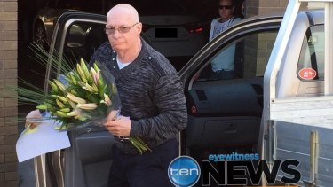 Gordon Nuttall arrives at his daughter's home after being released from jail.