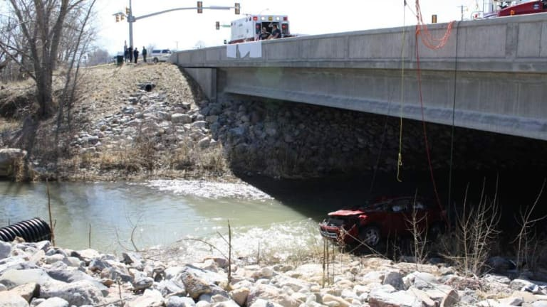 Miracle: The bridge from which the car plunged into the Spanish Fork River.