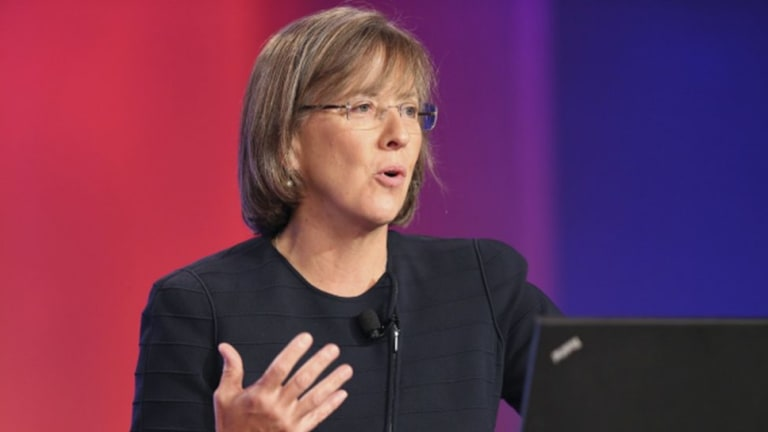 Internet analyst Mary Meeker speaks at the Code conference in Rancho Palos Verdes, California.