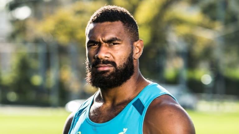 Early start: Rugby league convert Marika Koroibete scored twice for the Wallabies in his starting debut.
