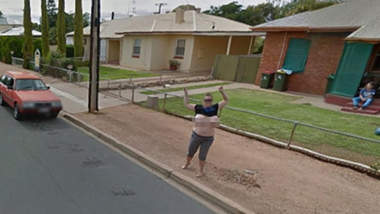 Before: Karen proudly posed topless as Google took shots of Port Pirie streets in South Australia.