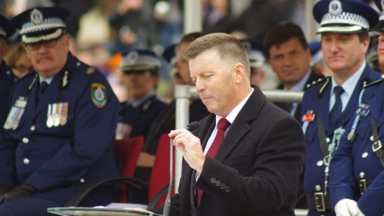 Mike Gallacher  at a police parade in Goulburn this morning.