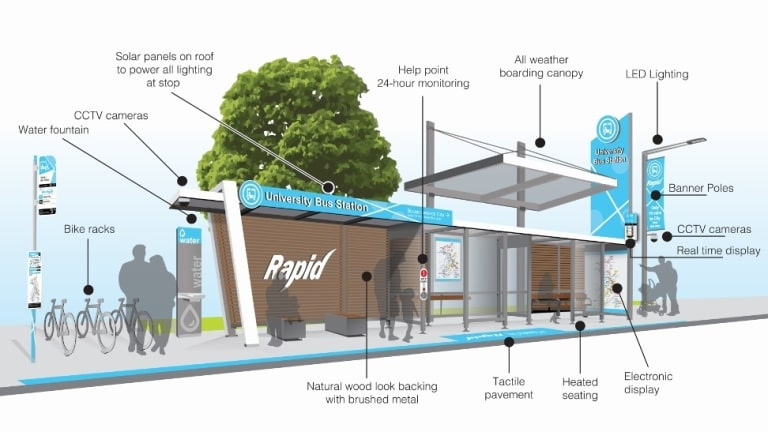 An artist's impression of a Canberra bus stop as part of the Liberal plan