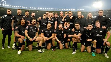 Start of something big? The Toronto Wolfpack after their first professional game, a pre-season clash against Hull.