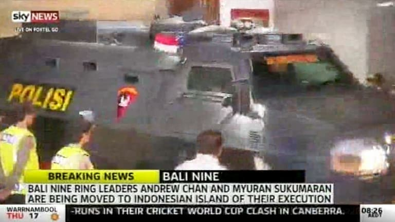 The Wolf armoured personnel carrier leaves Kerobokan prison.