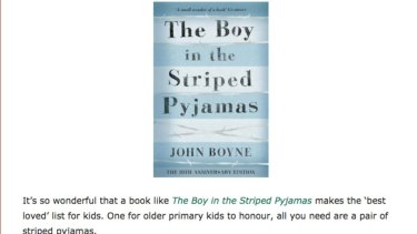 A screenshot of the original post suggesting that children dress up as a character in  The Boy in the Striped Pyjamas. The post was removed from Children's Book  Daily after complaints that it was offensive.