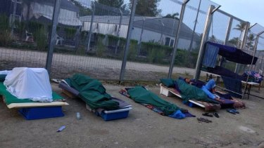 Rough sleeping conditions inside the Manus Island regional processing centre, which more than 600 refugees and asylum seekers refuse to leave.