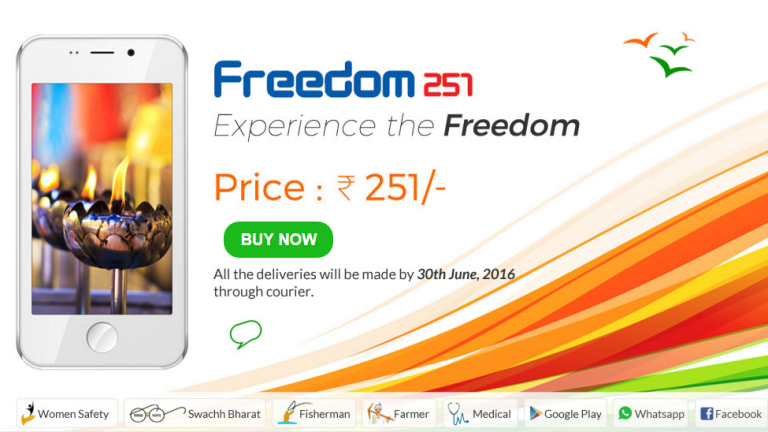 An ad for the Freedom 251 shows some of its pre-installed apps and incredibly low price.
