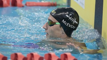 Water and science: Cameron McEvoy and his black hole swimming cap.