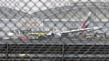 The Boeing 777 was significantly damaged by the blaze, losing much of the top of the plane.