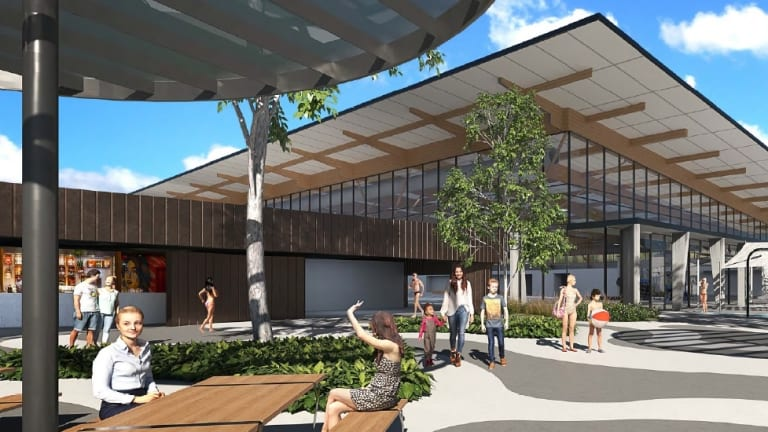 Artists impressions of the new Stromlo pool, which will include a gym and splash park.