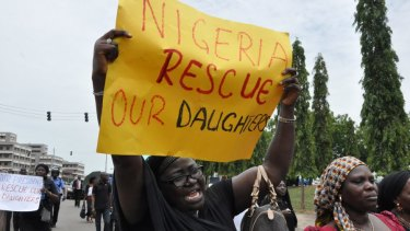Relatives at a rally for the rescue of the kidnapped schoolgirls in 2014.