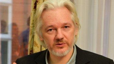 WikiLeaks founder Julian Assange speaks at a press conference inside Ecuador's London embassy.