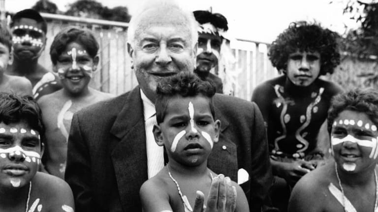 Opening of the Aboriginal Health Service Centre in Fitzroy. Gough Whitlam with the young corroboree dancers in 1993.