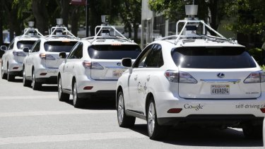A row of Google's self-drive cars in California. Rapid progress in autonomous vehicle capabilities are perhaps the most substantial advance in transport since the invention of the automobile.