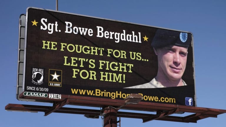 A billboard, photographed last year, calling for the release of Bergdahl, held for nearly five years by the Taliban after being captured in Afghanistan.