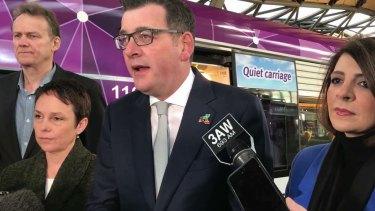 Premier Daniel Andrews speaks to the media on Tuesday.