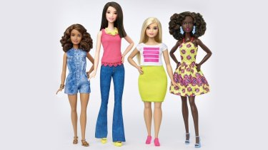 Change: Barbie has released three new body types – tall, curvy and petite and a variety of skin tones, hairstyles and outfits.