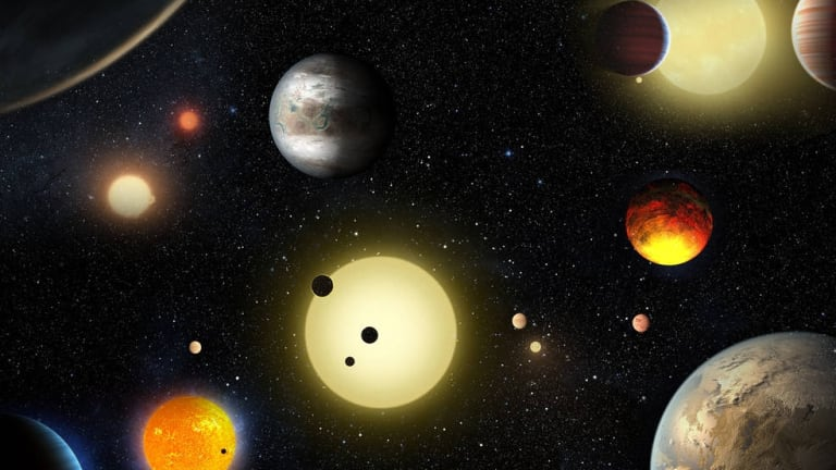An artist's impression of some of the planetary discoveries made by NASA's Kepler Space Telescope.