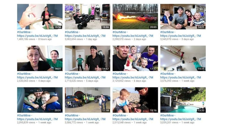 Videos of Youtuber RomanAtwoodVlogs with altered titles and descriptions.
