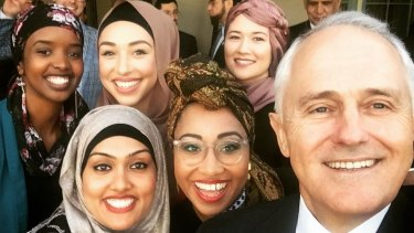 Yassmin Abdel-Magied's selfie with Malcolm Turnbull at the Prime Minister's Iftar dinner.