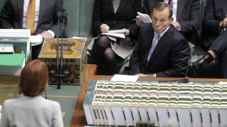 Question time: Tony Abbott's vow laid the prospect of becoming the victim of the same accusation he levelled so effectively at former prime minister Julia Gillard.