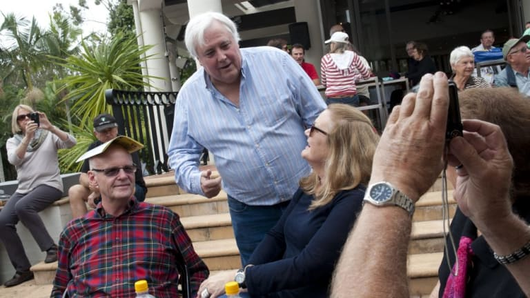 Clive Palmer mingles at the Fairfax festival weekend at Palmer Coolum Resort.