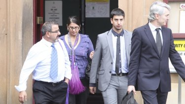 No comment: The father, mother and brother of Christopher Estephan leave court on Wednesday.