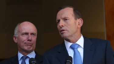 Tony Abbott with Eric Abetz during the Abbott government.