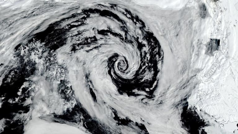 A cyclone spins in the Ross Sea off Antarctica.