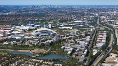 The Carter Street industrial precinct near Sydney Olympic Park will be turned into a new community with 5500 homes.