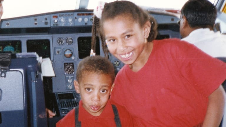 Yassmin and brother Yasseen in a pre-9/11 visit to a cockpit.