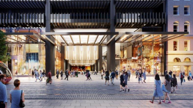 An artist's impression of a redeveloped Wynyard Station opening onto George Street.