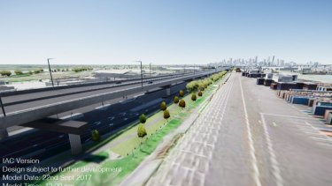 A view of the West Gate Tunnel's elevated toll road proposed to cover the existing Footscray Road.
