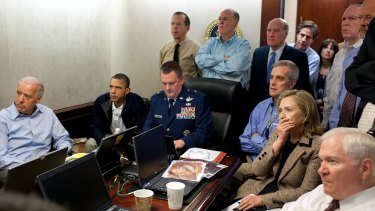 Vice-President Joe Biden, left, President Obama and Secretary of State Hillary Clinton with members of the national security team receiving an update on the mission against Osama bin Laden on May 1, 2011.